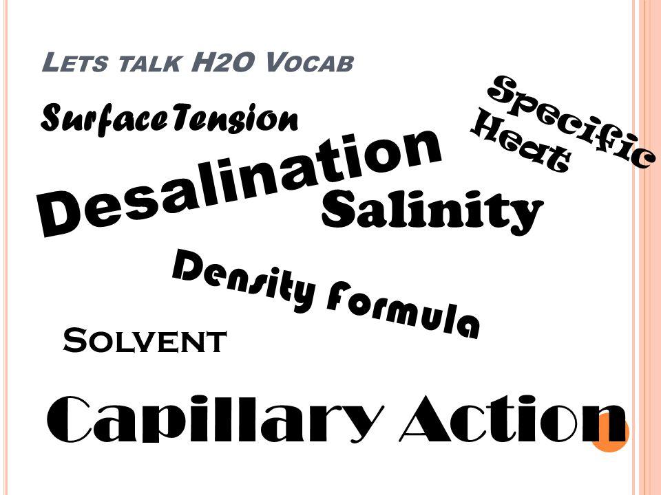L ETS TALK H 2 O V OCAB Surface Tension Desalination Salinity Density Formula Capillary Action Specific Heat Solvent