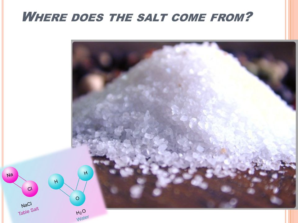 W HERE DOES THE SALT COME FROM ?