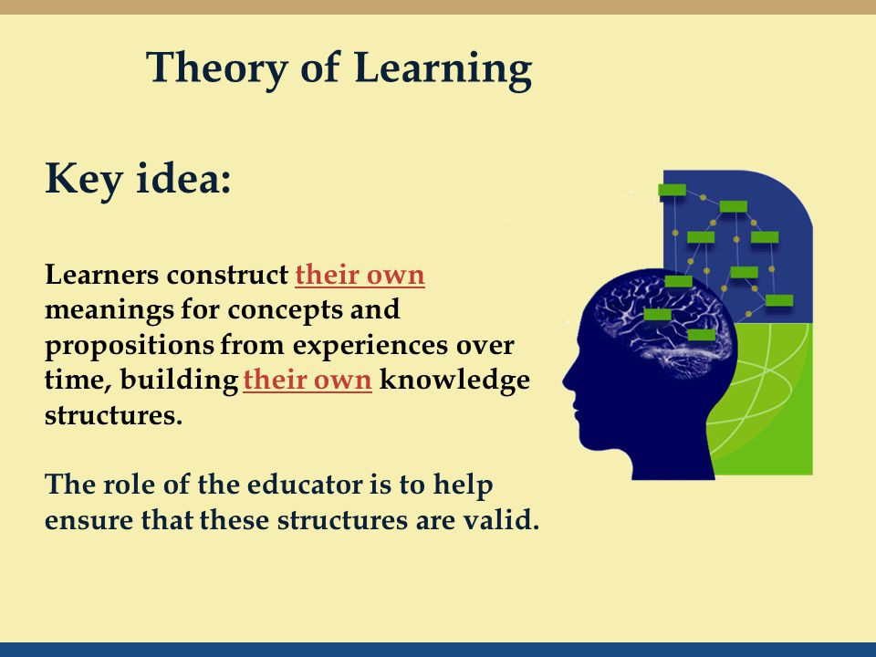 Key idea: Learners construct their own meanings for concepts and propositions from experiences over time, building their own knowledge structures.