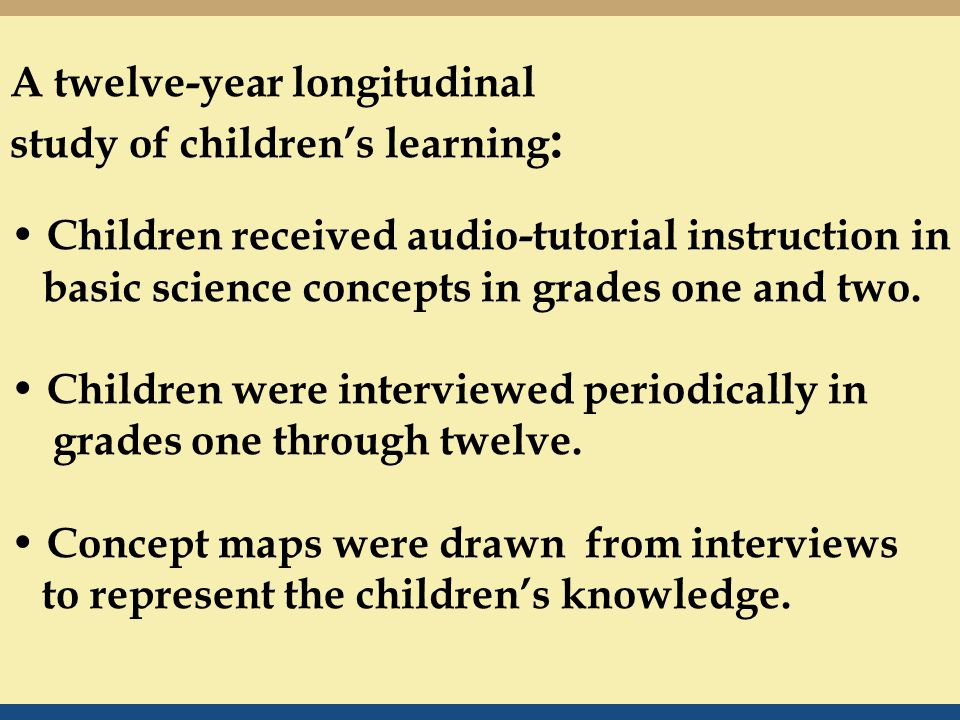 A twelve-year longitudinal study of children's learning : Children received audio-tutorial instruction in basic science concepts in grades one and two.