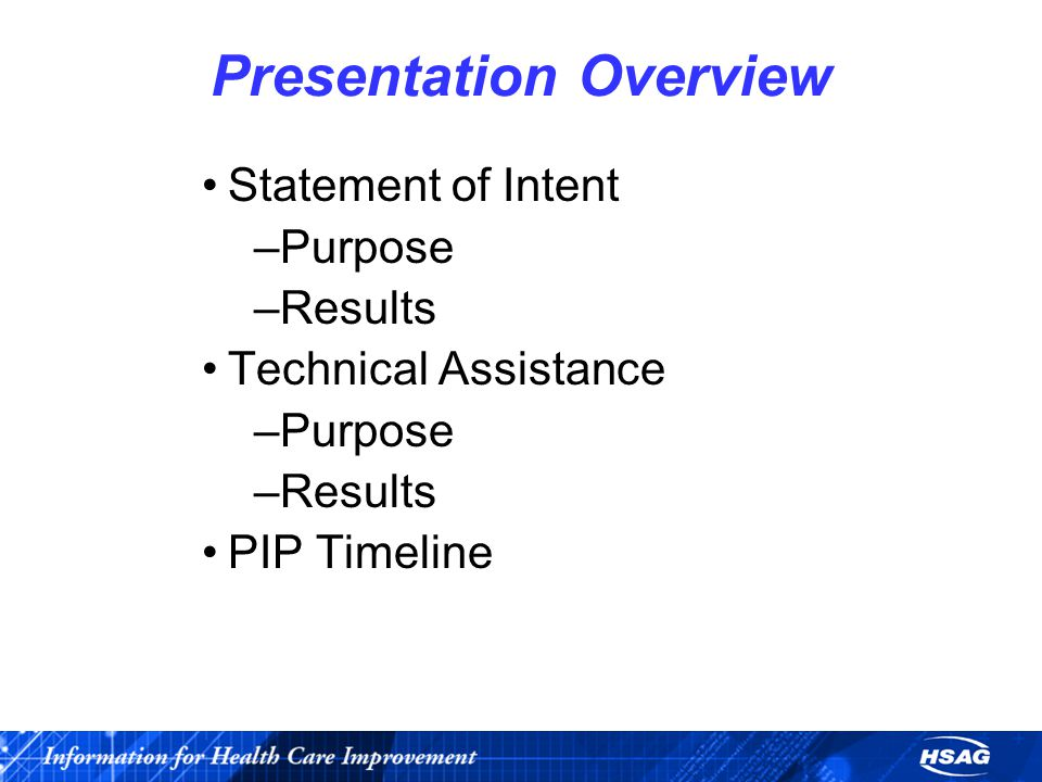 Presentation Overview Statement of Intent –Purpose –Results Technical Assistance –Purpose –Results PIP Timeline
