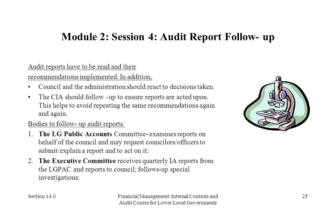 Section 14.0Financial Management: Internal Controls and Audit Course for Lower Local Governments 24 Module 2:Session 3: Characteristics of Good Report