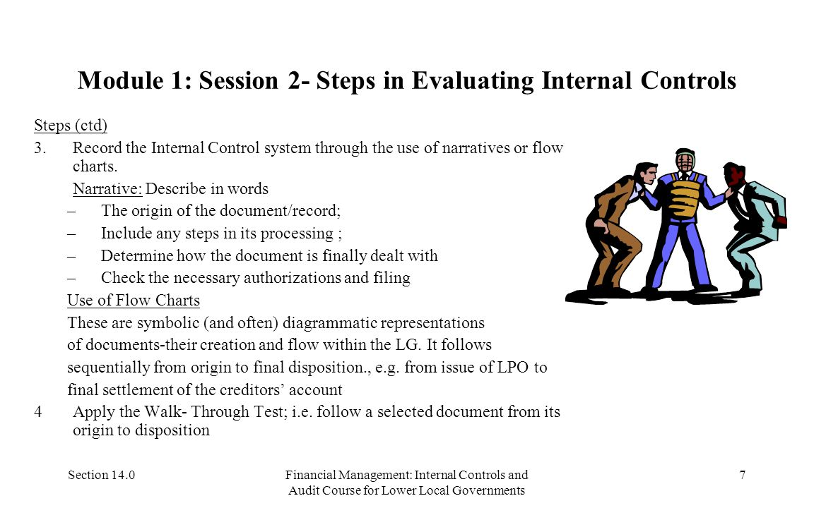 Section 14.0Financial Management: Internal Controls and Audit Course for Lower Local Governments 7 Module 1: Session 2- Steps in Evaluating Internal Controls Steps (ctd) 3.Record the Internal Control system through the use of narratives or flow charts.