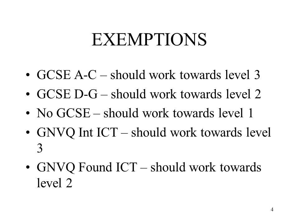 4 EXEMPTIONS GCSE A-C – should work towards level 3 GCSE D-G – should work towards level 2 No GCSE – should work towards level 1 GNVQ Int ICT – should work towards level 3 GNVQ Found ICT – should work towards level 2