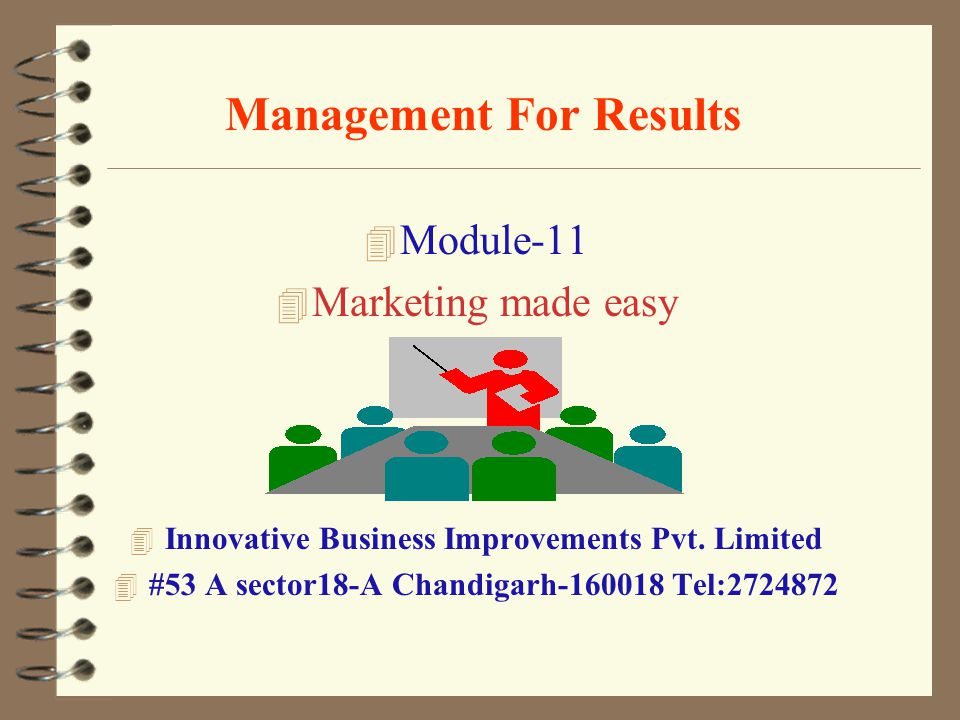 Management For Results 4 Module-11 4 Marketing made easy 4 Innovative Business Improvements Pvt.