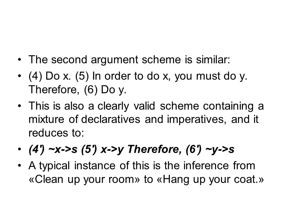 The second argument scheme is similar: (4) Do x. (5) In order to do x, you must do y.