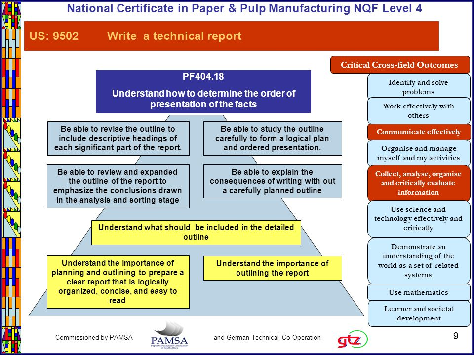 9 Commissioned by PAMSA and German Technical Co-Operation National Certificate in Paper & Pulp Manufacturing NQF Level 4 PF404.18 Understand how to determine the order of presentation of the facts Understand what should be included in the detailed outline Be able to study the outline carefully to form a logical plan and ordered presentation.