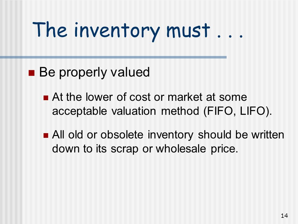 14 The inventory must...