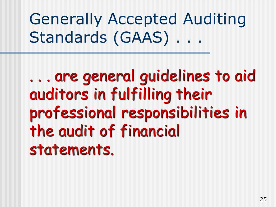 25 Generally Accepted Auditing Standards (GAAS)......