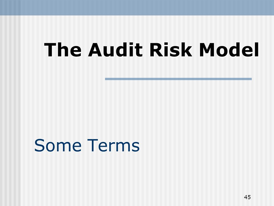 45 Some Terms The Audit Risk Model