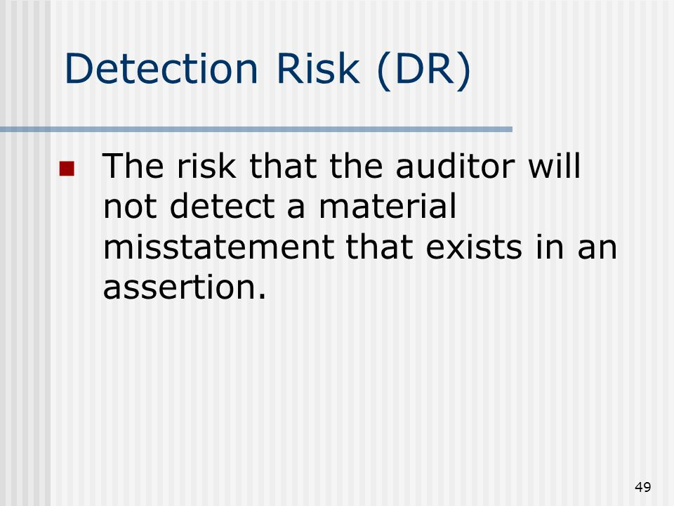 49 The risk that the auditor will not detect a material misstatement that exists in an assertion.