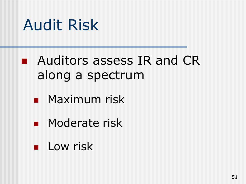 51 Auditors assess IR and CR along a spectrum Maximum risk Moderate risk Low risk Audit Risk