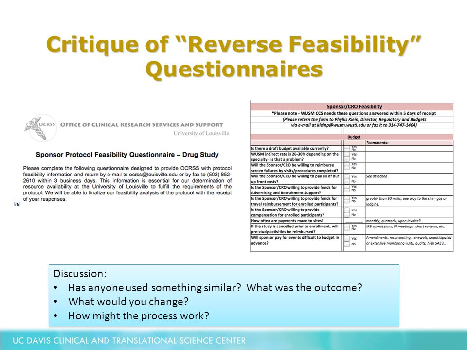 """Critique of """"Reverse Feasibility"""" Questionnaires Discussion: Has anyone used something similar? What was the outcome? What would you change? How might"""