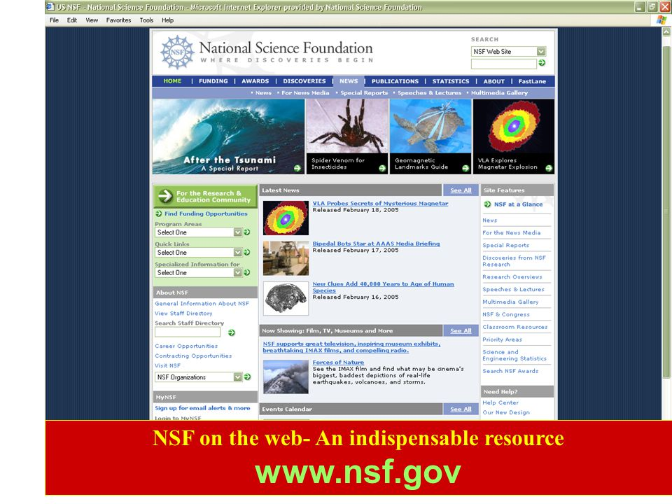 NSF on the web- An indispensable resource www.nsf.gov