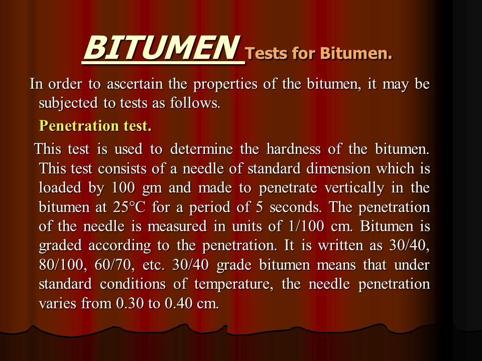 BITUMEN Tests for Bitumen.