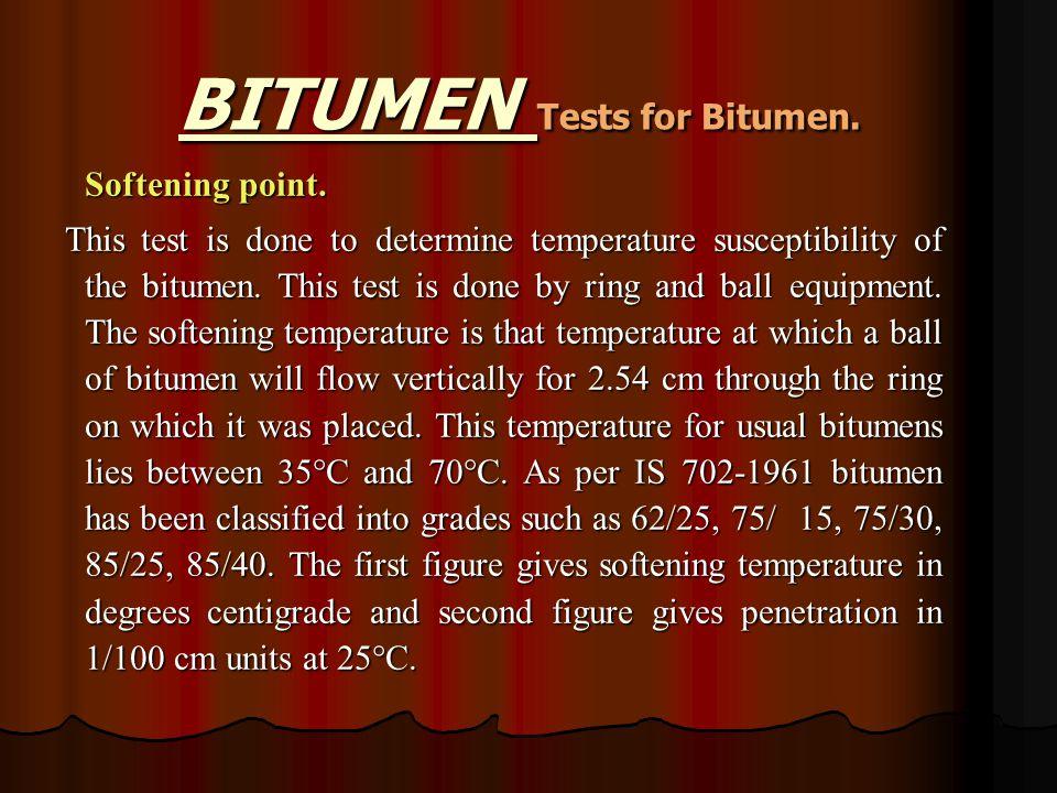 BITUMEN Tests for Bitumen. Softening point.