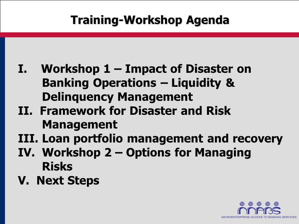 Training-Workshop Agenda Training-Workshop Agenda I. Workshop 1 – Impact of Disaster on Banking Operations – Liquidity & Delinquency Management II. Fr