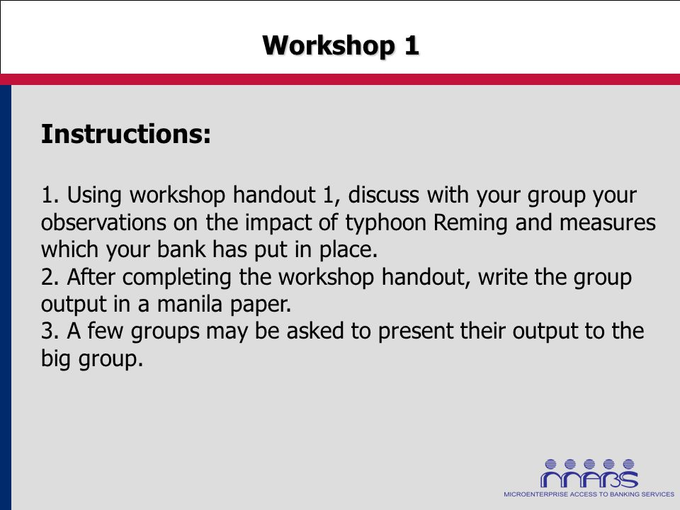 Workshop 1 Workshop 1 Instructions: 1. Using workshop handout 1, discuss with your group your observations on the impact of typhoon Reming and measure