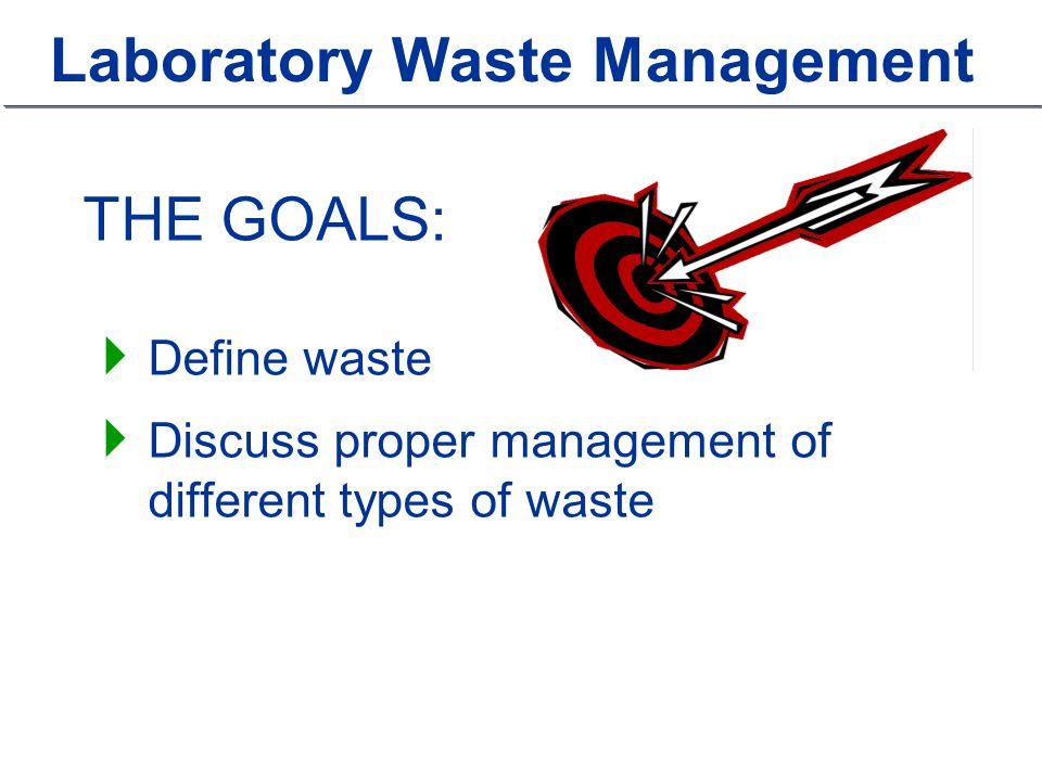 THE GOALS:  Define waste  Discuss proper management of different types of waste
