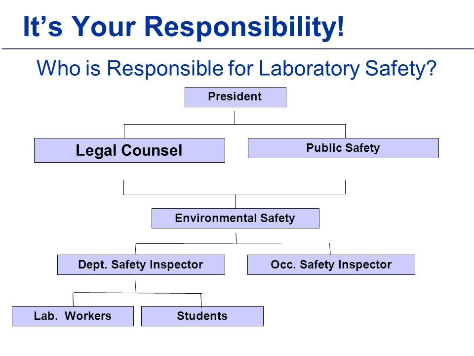 Who is Responsible for Laboratory Safety? Legal Counsel Public Safety President Environmental Safety Lab. Workers Students Dept. Safety InspectorOcc.