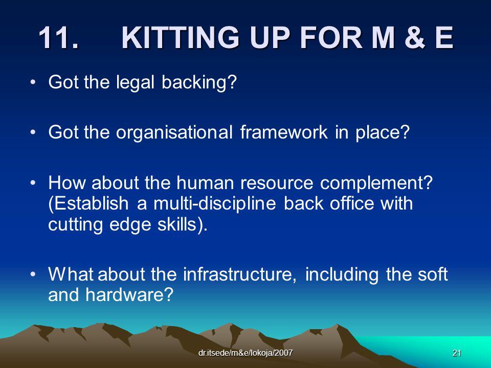 dr.itsede/m&e/lokoja/200721 11. KITTING UP FOR M & E Got the legal backing.