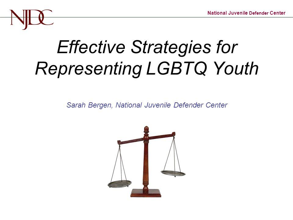 National Juvenile Defender Center Effective Strategies for Representing LGBTQ Youth Sarah Bergen, National Juvenile Defender Center