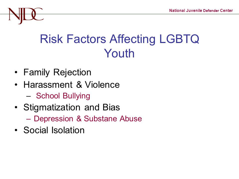 National Juvenile Defender Center Risk Factors Affecting LGBTQ Youth Family Rejection Harassment & Violence – School Bullying Stigmatization and Bias