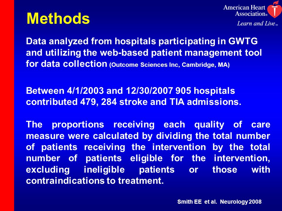 Methods Data analyzed from hospitals participating in GWTG and utilizing the web-based patient management tool for data collection (Outcome Sciences Inc, Cambridge, MA) Between 4/1/2003 and 12/30/2007 905 hospitals contributed 479, 284 stroke and TIA admissions.