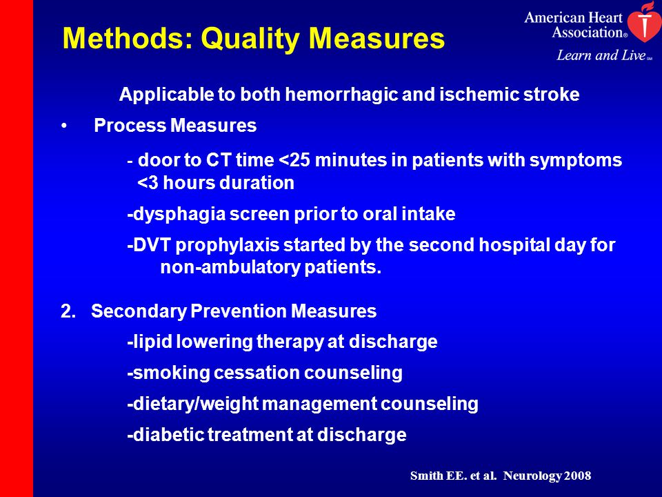 Methods: Quality Measures Applicable to both hemorrhagic and ischemic stroke Process Measures - door to CT time <25 minutes in patients with symptoms <3 hours duration -dysphagia screen prior to oral intake -DVT prophylaxis started by the second hospital day for non-ambulatory patients.