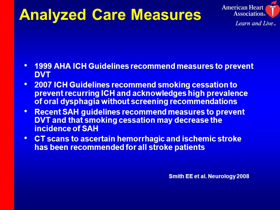 Analyzed Care Measures 1999 AHA ICH Guidelines recommend measures to prevent DVT 2007 ICH Guidelines recommend smoking cessation to prevent recurring