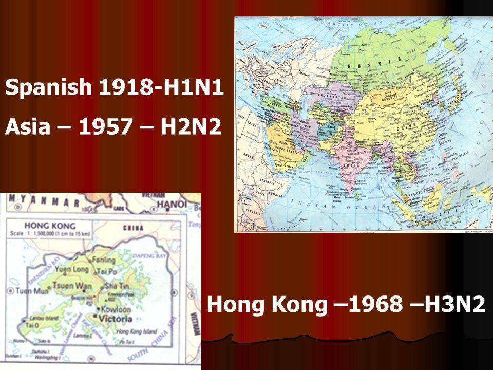 Spanish 1918-H1N1 Asia – 1957 – H2N2 Hong Kong –1968 –H3N2