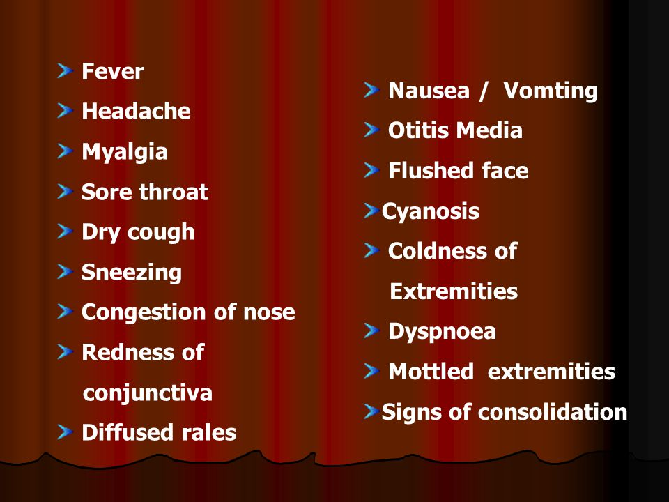 SSigns and symptoms in Human being : Fever Headache Myalgia Sore throat Dry cough Sneezing Congestion of nose Redness of conjunctiva Diffused rales Nausea / Vomting Otitis Media Flushed face Cyanosis Coldness of Extremities Dyspnoea Mottled extremities Signs of consolidation