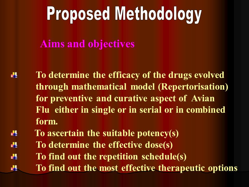To determine the efficacy of the drugs evolved through mathematical model (Repertorisation) for preventive and curative aspect of Avian Flu either in single or in serial or in combined form.
