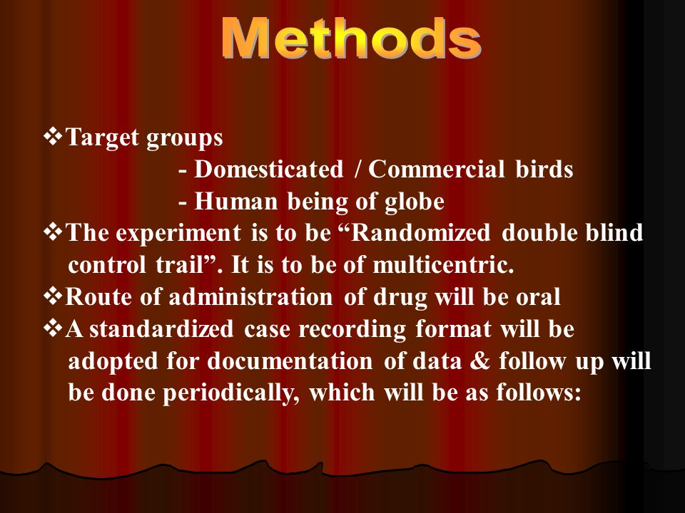  Target groups - Domesticated / Commercial birds - Human being of globe  The experiment is to be Randomized double blind control trail .