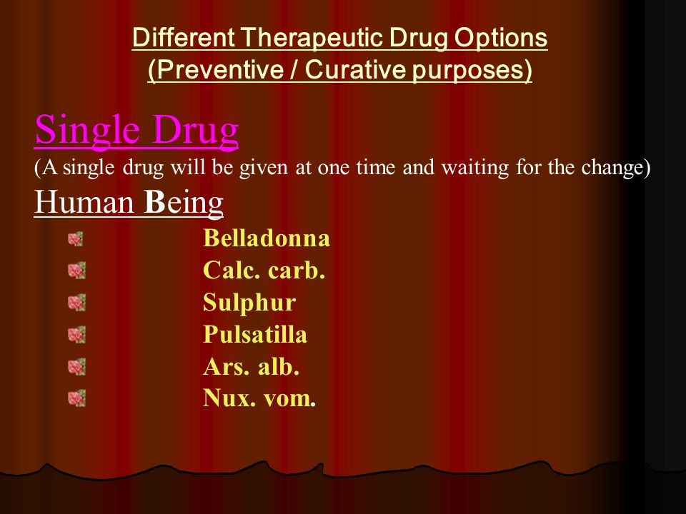 Different Therapeutic Drug Options (Preventive / Curative purposes) Single Drug (A single drug will be given at one time and waiting for the change) Human Being Belladonna Calc.