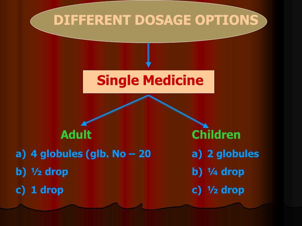 DIFFERENT DOSAGE OPTIONS Single Medicine Adult a)4 globules (glb. No – 20 b)½ drop c)1 drop Children a)2 globules b)¼ drop c)½ drop