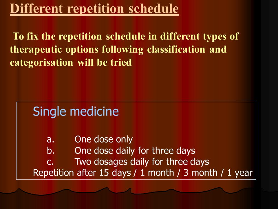 Different repetition schedule To fix the repetition schedule in different types of therapeutic options following classification and categorisation will be tried Single medicine a.One dose only b.One dose daily for three days c.Two dosages daily for three days Repetition after 15 days / 1 month / 3 month / 1 year