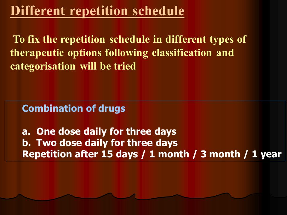Combination of drugs a.One dose daily for three days b.Two dose daily for three days Repetition after 15 days / 1 month / 3 month / 1 year Different repetition schedule To fix the repetition schedule in different types of therapeutic options following classification and categorisation will be tried