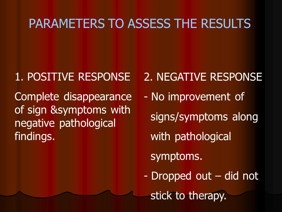 PARAMETERS TO ASSESS THE RESULTS 1. POSITIVE RESPONSE Complete disappearance of sign &symptoms with negative pathological findings. 2. NEGATIVE RESPON