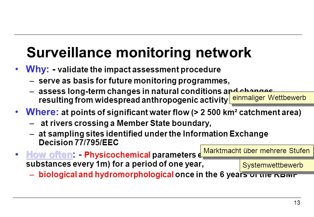 13 Surveillance monitoring network Why: - validate the impact assessment procedure –serve as basis for future monitoring programmes, –assess long-term changes in natural conditions and changes resulting from widespread anthropogenic activity Where: at points of significant water flow (> 2 500 km² catchment area) – at rivers crossing a Member State boundary, –at sampling sites identified under the Information Exchange Decision 77/795/EEC How oftenHow often: - Physicochemical parameters every 3m.