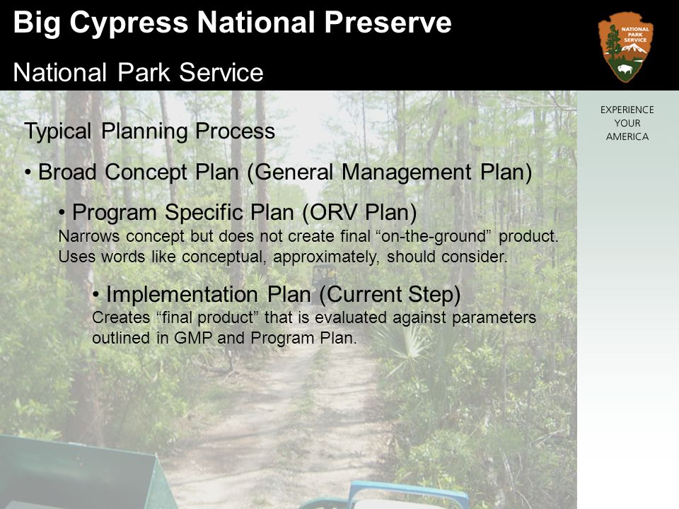 Big Cypress National Preserve National Park Service Typical Planning Process Broad Concept Plan (General Management Plan) Program Specific Plan (ORV Plan) Narrows concept but does not create final on-the-ground product.