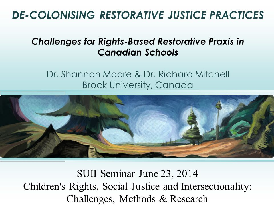 DE-COLONISING RESTORATIVE JUSTICE PRACTICES Challenges for Rights-Based Restorative Praxis in Canadian Schools Dr.