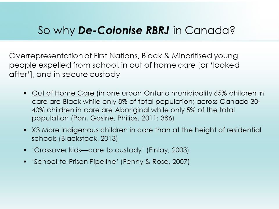 So why De-Colonise RBRJ in Canada.