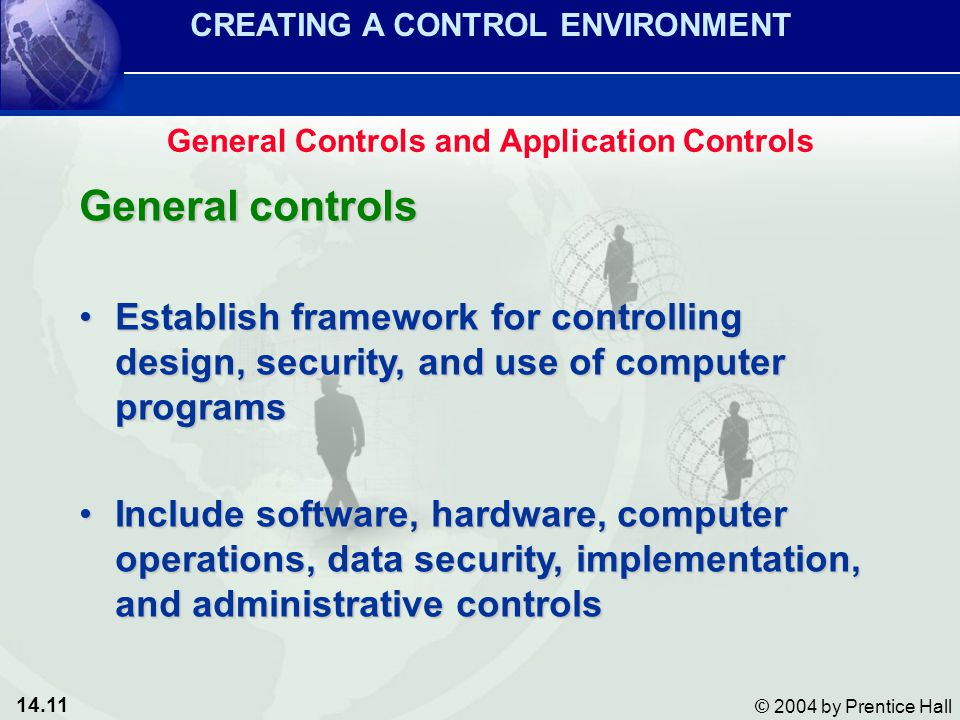 14.11 © 2004 by Prentice Hall General controls Establish framework for controlling design, security, and use of computer programsEstablish framework for controlling design, security, and use of computer programs Include software, hardware, computer operations, data security, implementation, and administrative controlsInclude software, hardware, computer operations, data security, implementation, and administrative controls CREATING A CONTROL ENVIRONMENT General Controls and Application Controls