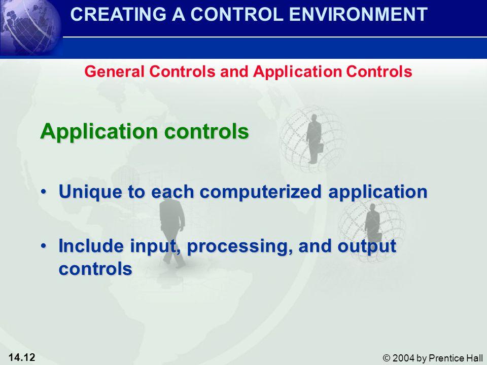 14.12 © 2004 by Prentice Hall Application controls Unique to each computerized applicationUnique to each computerized application Include input, proce