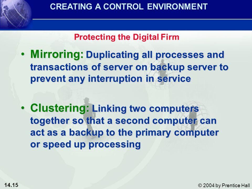 14.15 © 2004 by Prentice Hall Mirroring: Duplicating all processes and transactions of server on backup server to prevent any interruption in serviceMirroring: Duplicating all processes and transactions of server on backup server to prevent any interruption in service Clustering: Linking two computers together so that a second computer can act as a backup to the primary computer or speed up processingClustering: Linking two computers together so that a second computer can act as a backup to the primary computer or speed up processing CREATING A CONTROL ENVIRONMENT Protecting the Digital Firm