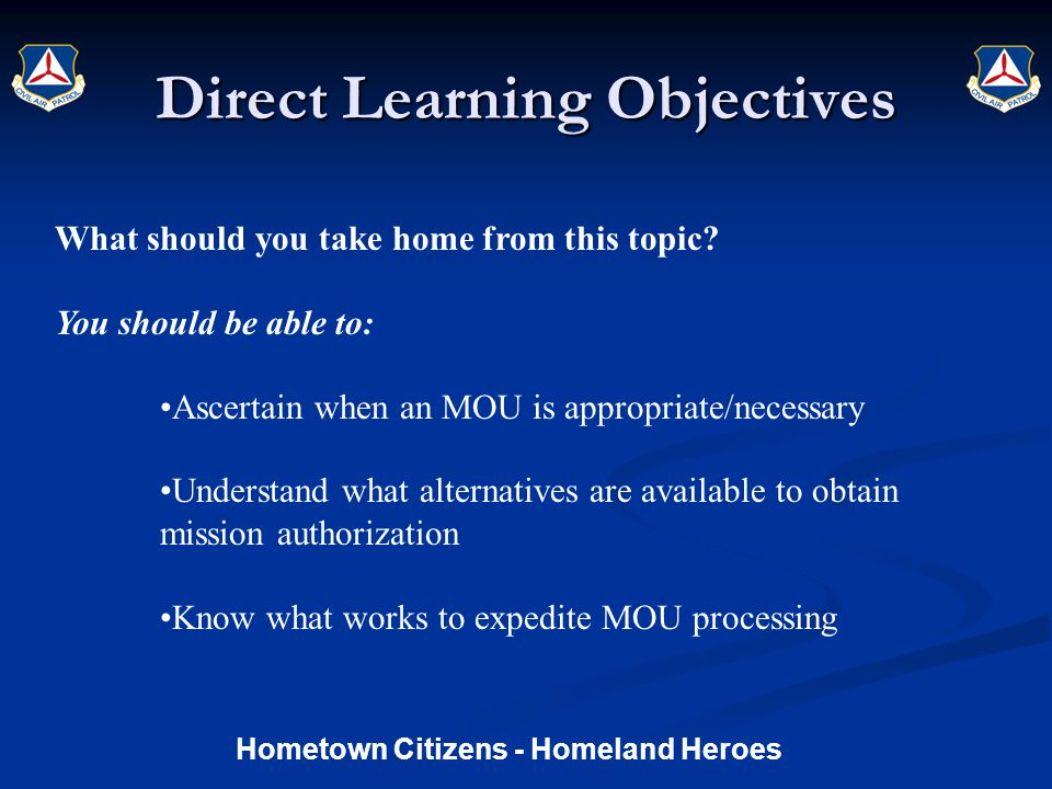 Direct Learning Objectives What should you take home from this topic.
