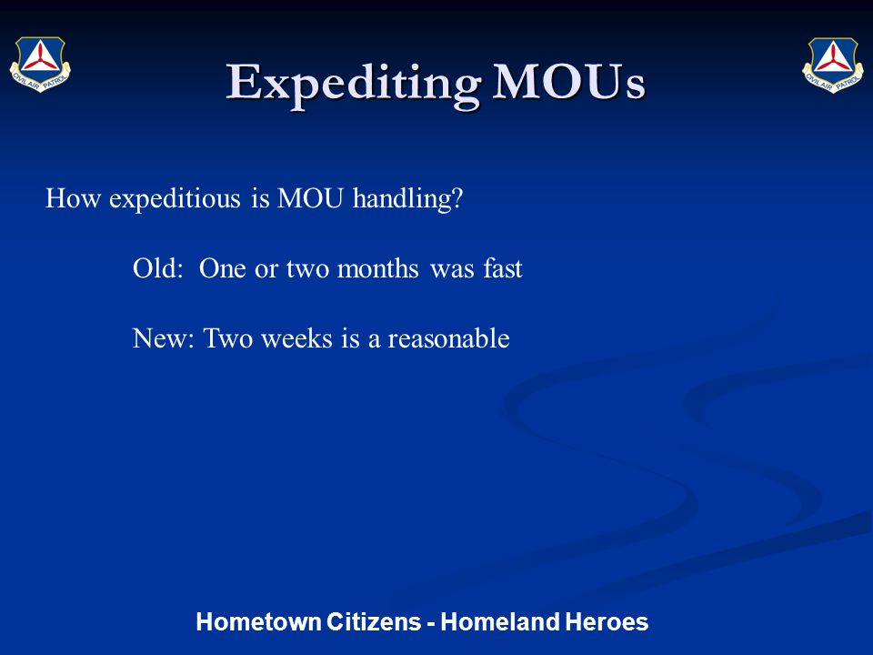 Expediting MOUs How expeditious is MOU handling.