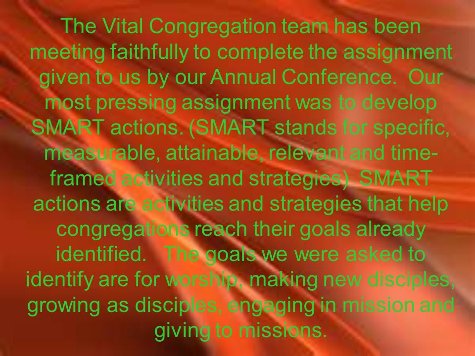 The Vital Congregation team has been meeting faithfully to complete the assignment given to us by our Annual Conference.