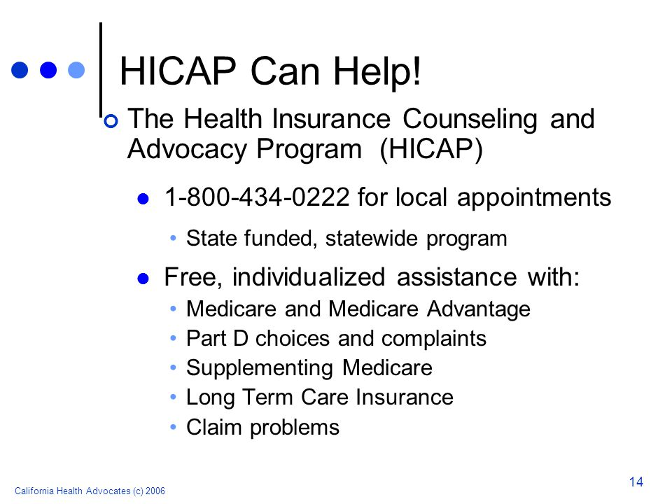 California Health Advocates (c) 2006 14 HICAP Can Help! The Health Insurance Counseling and Advocacy Program (HICAP) 1-800-434-0222 for local appointm